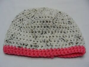 08923ade381 hand knit cream w  speckles and salmon trim infant size stocking cap ...