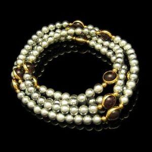 Vintage-Long-Gray-Faux-Pearls-Beads-Necklace-Purple-Bezel-Set-Lucite-Stones