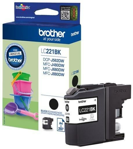 Brother LC-221BK (Yield: 260 Pages) Black Ink Cartridge