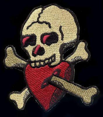 Tattoo Patch Skull and Bones Heart Old School Traditional Rockabilly Psychobilly