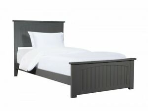 Image Is Loading Twin Xl Bed Wooden Bedframe Grey Bedstead Headboard