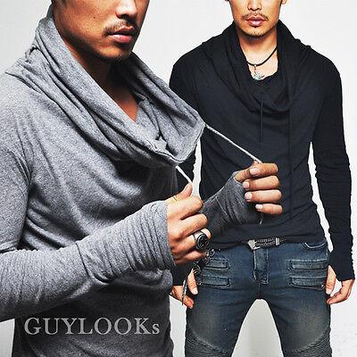 Avant-garde Built-in Armwarmer Mens Shirring Turtle Neck Knit Tee S M By Guylook