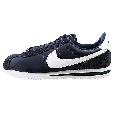 Nike Cortez Basic Nylon Mens 819720-411 Obsidian White Running Shoes Size 9