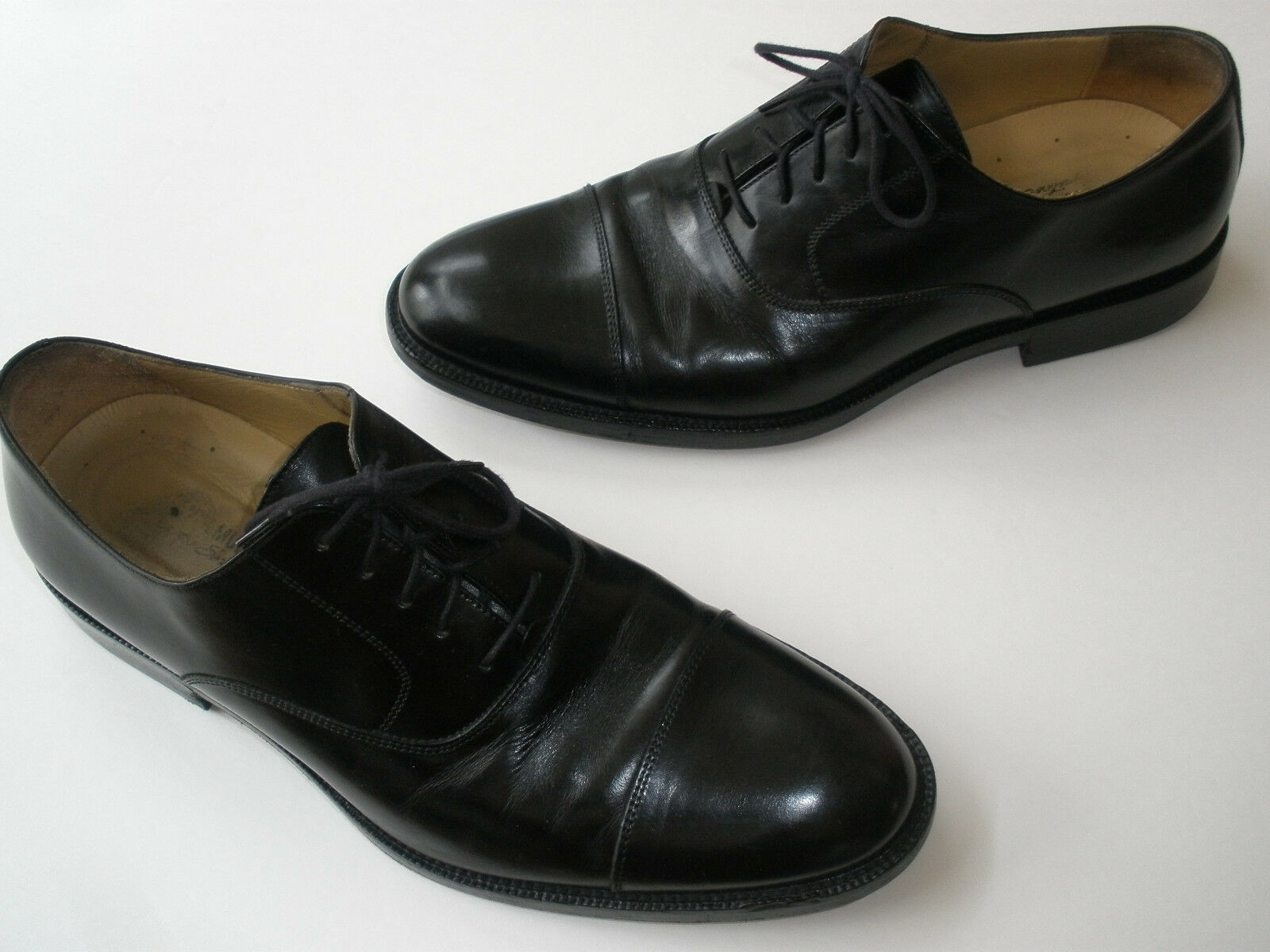 JOHNSTON & MURPHY BLACK LEATHER CAP TOE OXFORD SIZE US10 NICE 245 MADE IN ITALY
