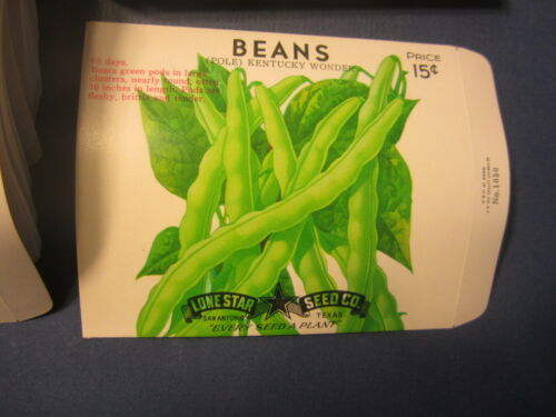 EMPTY San Antonio SEED PACKETS Wholesale Lot of 100 Old Vintage Pole BEANS