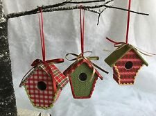 Set Of 3 Fabric Nordic Mini Bird House Christmas Tree Decorations Gisela Graham