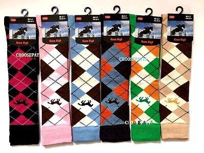 12 Pairs Ladies/women's Argyle Horse Design Horse Riding Cotton Knee High Socks Ausgezeichnet Im Kisseneffekt
