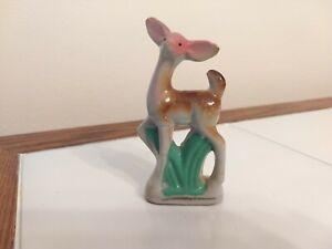 Vintage Porcelain Deer Doe Ceramic Fawn Figurine Hand Painted Gold Pink Japan