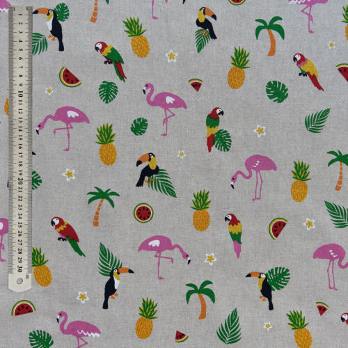 Flamingo/'s Tropical Quality Upholstery Fabric Parrots /& Pineapple Fabric