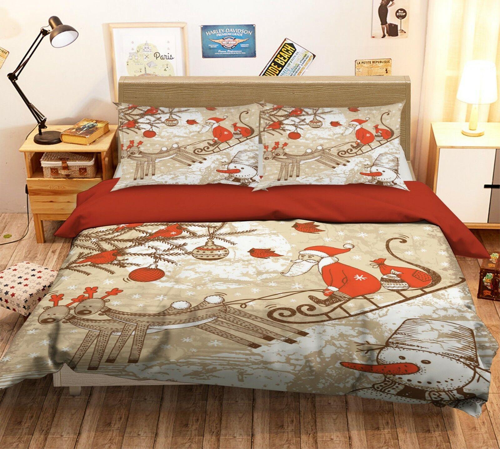 3D Rentier Schlitten Santa Schnee M844 Christmas Bett Kissenbezüge Bettbezug Amy