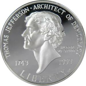 1994-S-1-Thomas-Jefferson-Commemorative-Silver-Dollar-US-Coin-Choice-Proof