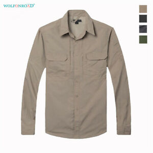 Men-039-s-Military-Shirts-Long-Sleeve-Work-Shirts-Outdoor-Hiking-Fishing-Cargo-Tops