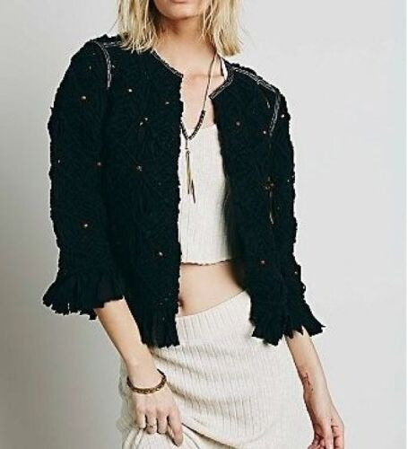 Macrame Free Size Handcrafted Boho Jacket People Black Medium 298 Heirloom By r44ER