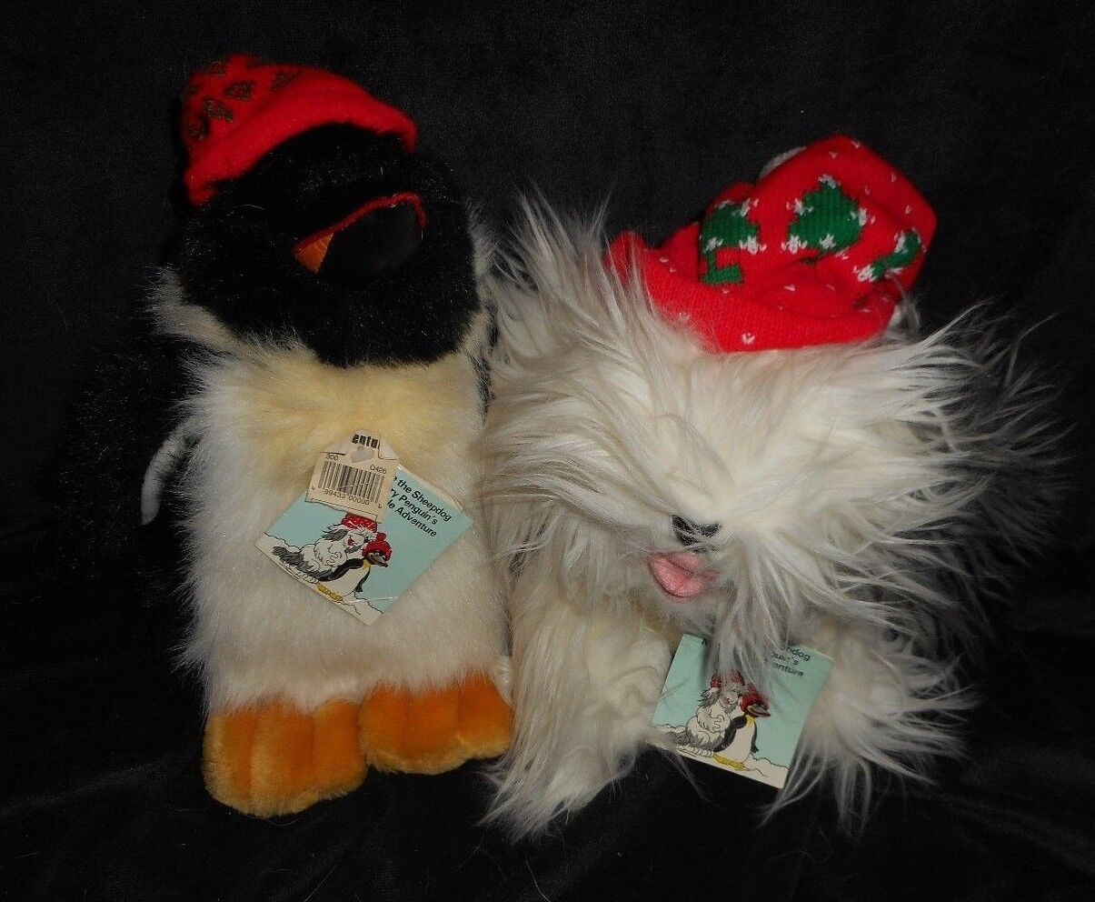 VINTAGE CHRISTMAS COMMONWEALTH PERRY PENGUIN & SHEEPDOG STUFFED ANIMAL PLUSH TOY