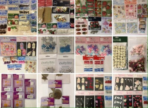 Lote de paquetes de múltiples adornos mixtos de trabajo Artesanía Tarjetas Scrapbook Topper Mejores Marcas