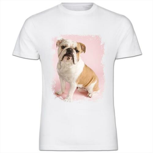 Bull Dog With Pink Background Kids Boy Girl T-Shirt