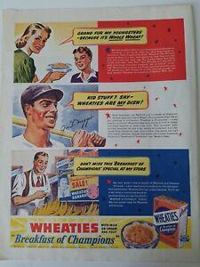 1939-Wheaties-Cereale-Dejeuner-De-Champions-Joe-Dimaggio-Baseball-Joueur-Annonce