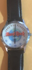 Hard-Rock-Cafe-2000s-MEN-039-S-WATCH-Black-LEATHER-BAND-034-SAVE-THE-PLANET-034-Globe-Logo