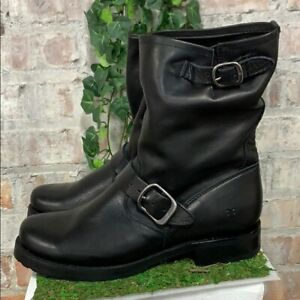 NIB-Frye-Women-039-s-Veronica-Short-Leather-Boots-Black-Buckle-Moto-Pick-Size
