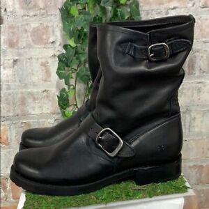 NIB-Frye-Women-039-s-Veronica-Short-Leather-Boots-Black-Buckle-Slouch-Pick-Size