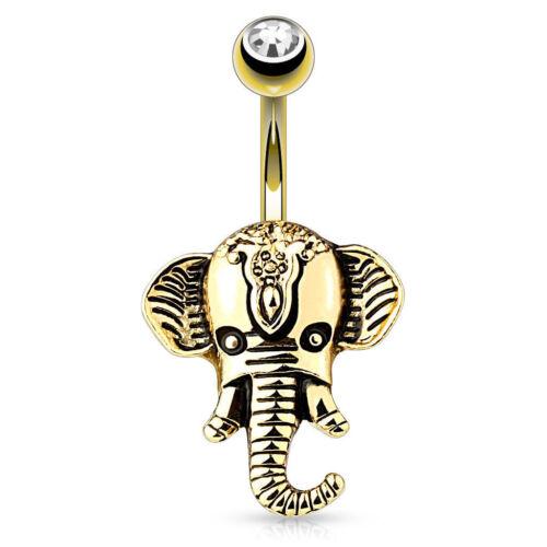 Bauchnabelpiercing indischer Elefant Elephant Ganesha vergoldet Gelbgold