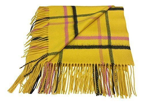 100% Cashmere Stole Throw Chaîne Surdimensionné écharpe jaune carreaux made in Scotland afficher le titre d'origine
