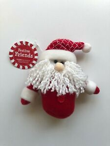 NEW-CHRISTMAS-FESTIVE-FRIENDS-SANTA-CLAUS-6-034-PLUSH-ORNAMENT-C593