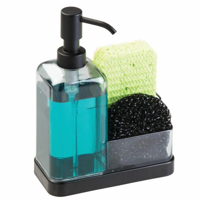 mDesign Plastic Kitchen Countertop Dish Soap Pump & Sponge Caddy -  Gray/Black