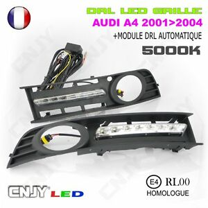 kit de 2 grille anti brouillard cnjy feux de jour led diurne drl audi a4 8e2 b6 ebay. Black Bedroom Furniture Sets. Home Design Ideas