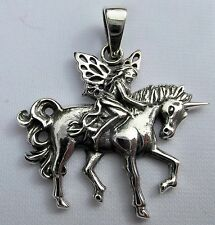 Sterling  Silver  925  Fairy On  Unicorn   Pendant  ( 6.6 Grams ) !!    New !!