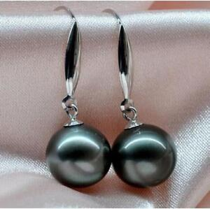 10-11mm AAA  real south sea black natural pearl drop earring 14k white gold