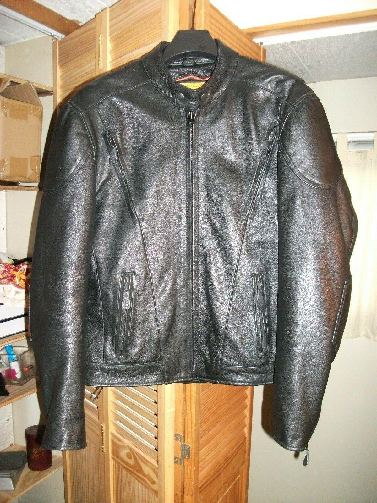 X-ELEMENT para hombre negro avanzada Motorcyle Gear Chaqueta de cuero, Insertos Pad Talla M
