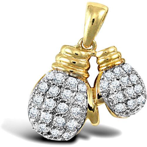 Forever Mine Fine Mens 9ct 2-Colour Gold CZ Boxing Gloves Pair Charm Pendant