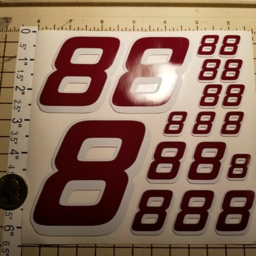 Burgandy w//White #8/'s  Racing Numbers Vinyl Decal Sheet 1//10-1//12 Chevy-Nascar