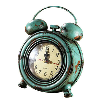 Industrial Retro Round Wall Clock Table Clock Home Decoration Ornament Blue