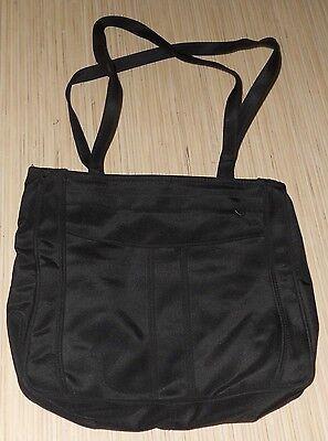 Schultertasche Umhänge Tasche schwarz schlicht elegant Fächer NEU Handtasche