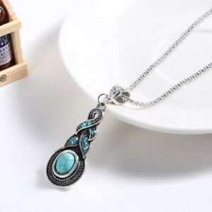 Fashion-Vintage-Pendant-Turquoise-Jewelry-Chain-Tibetan-Silver-Crystal-Necklace