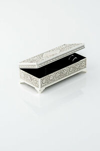 Details About Personalised Jewellery Box Antique Style Flower Patterned Silver Coloured