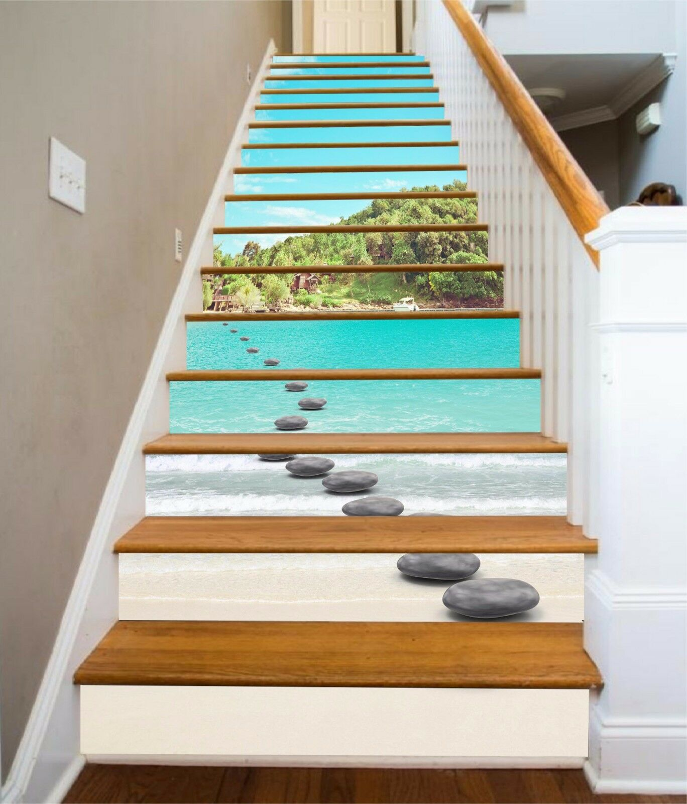 3D Sky ocean 3 Stair Risers Decoration Photo Mural Vinyl Decal Wallpaper UK
