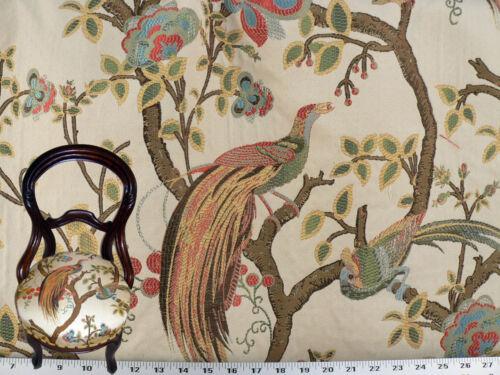Elfenbein Multi Vorhang Polsterstoff Vögel und Beeren Bestickt Jacquard