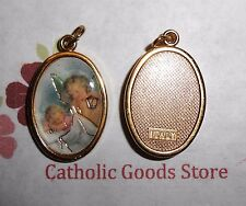 Guardian Angel with Baby Italian 1 inch Gold Tone and Enameled - Medal