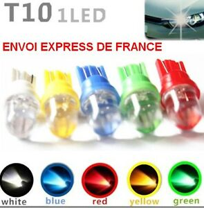2-AMPOULES-LED-W5W-JAUNE-BLEUE-ROUGE-VERT-RO-XENON-VEILLEUSE-T10-PUSH-WEDGE-BULB