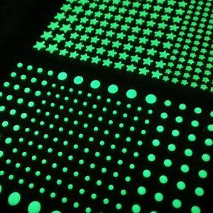 202 Stelline/puntini fluorescenti fosforescenti adesive si illuminano al buio