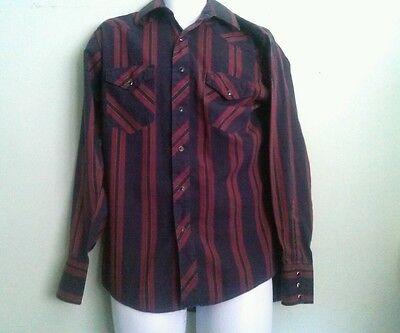 Rustler Western Pearl-Snap Men's M Shirt 15.5/ 32-33 - Maroon/BlueBlack Stripe