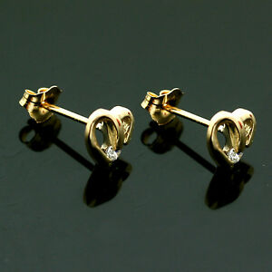 Image Is Loading 9ct Yellow Gold White C Z Heart Earrings Uk
