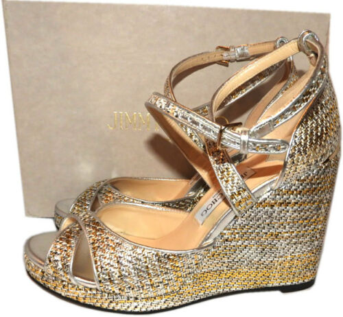Jimmy Choo Alanah 80 Woven Metallic Leather Platform Wedge Sandals Shoes 41