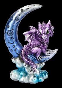 Dragon On Moon Figurine - Crescent Creature - Lila - Fantasy Monddrache Deco