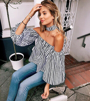 Fashion Women Sexy Off The Shoulder Casual Loose Long Sleeve T-Shirt Tops Blouse