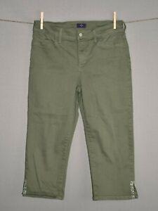 NYDJ-78-Green-Cropped-Capri-Denim-Jean-Rhinestone-Embellishments-Size-8