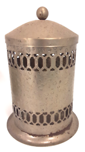 Vintage Turkish Moorish Hammered Tin Metal Lamp Candle Holder w/ Lid